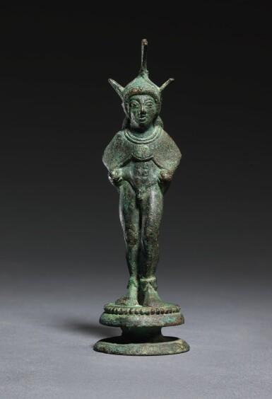 View 1. Thumbnail of Lot 8. AN ETRUSCAN BRONZE FIGURE OF A WARRIOR, CIRCA 500-475 B.C..