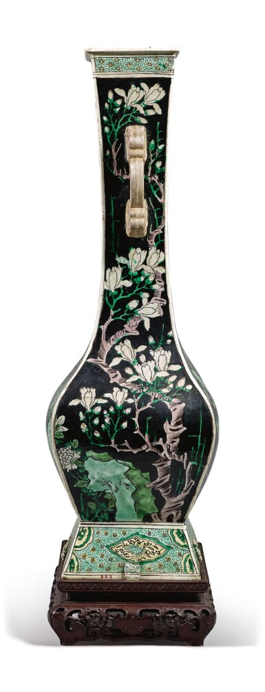 View 5. Thumbnail of Lot 1029.  A FAMILLE-NOIRE 'BIRD AND FLOWER' FANGHU-FORM VASE, QING DYNASTY, 19TH CENTURY.