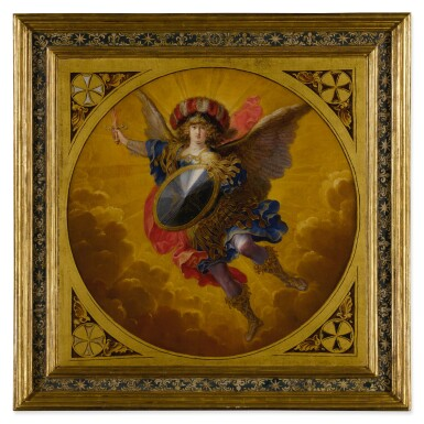 View 5. Thumbnail of Lot 665. A young prince, possibly Ferdinand Karl, Archduke of Austria and Tyrol, flanked by two attendants;  The Archangel Saint Michael, wearing a plumed helmet with the colors of Austria.
