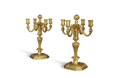 A PAIR OF LOUIS XIV STYLE GILT BRONZE FOUR-LIGHT CANDELABRA, 19TH CENTURY