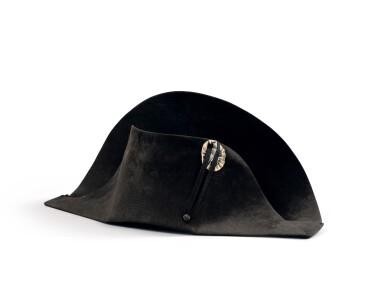 """View 1. Thumbnail of Lot 33. The legendary """"à la française"""" hat of Emperor Napoleon I, worn during his campaign in Pologne (1807)   Légendaire chapeau de l'empereur Napoléon Ier, de forme traditionnelle dite à la française, porté durant la campagne de Pologne (1807).."""