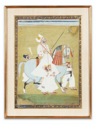 View 4. Thumbnail of Lot 34. INDIA, 19TH CENTURY | FOUR EQUESTRIAN PORTRAITS OF DIGNITARIES .