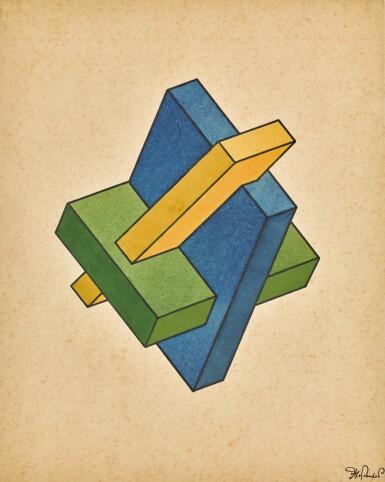 YAKOV GEORGIEVICH CHERNIKHOV | Blue-Green-Yellow Geometric Composition