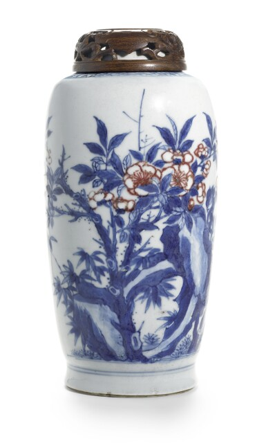 AN UNDERGLAZE-BLUE AND RED JAR | QING DYNASTY, KANGXI PERIOD [TWO ITEMS]