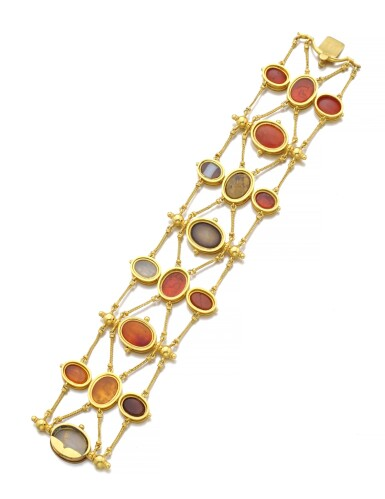 View 3. Thumbnail of Lot 149. GOLD AND HARDSTONE INTAGLIO BRACELET, CIRCA 1860.