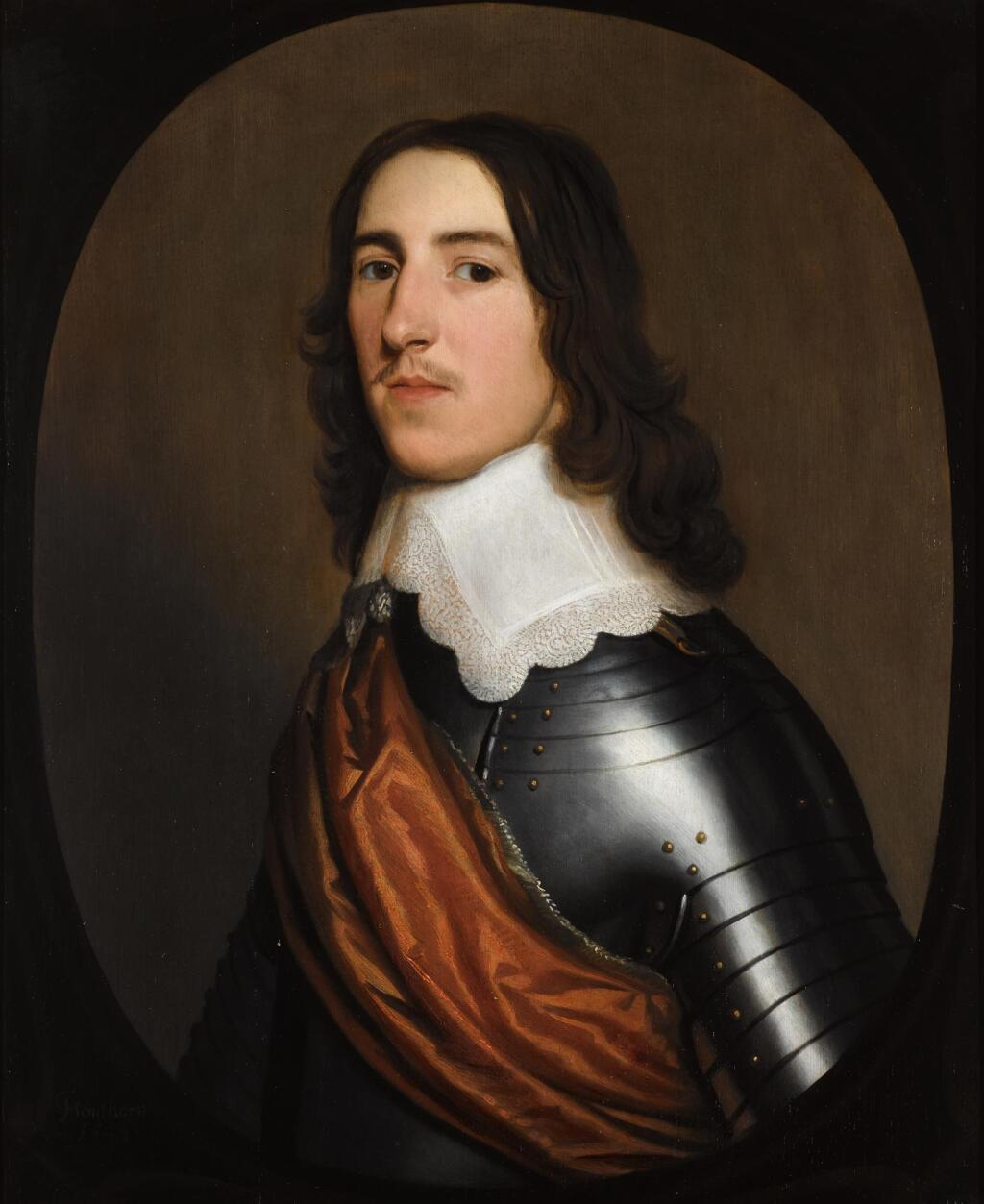 GERARD VAN HONTHORST | A portrait of a gentleman, half-length, believed to be Sir Thomas Ogle, wearing a suit of armour, with a white collar and an orange sash