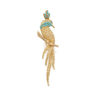 View 2. Thumbnail of Lot 42. Gold, turquoise and sapphire brooch.
