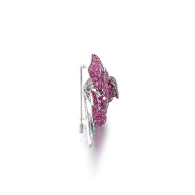 View 2. Thumbnail of Lot 50. Ruby and emerald brooch.