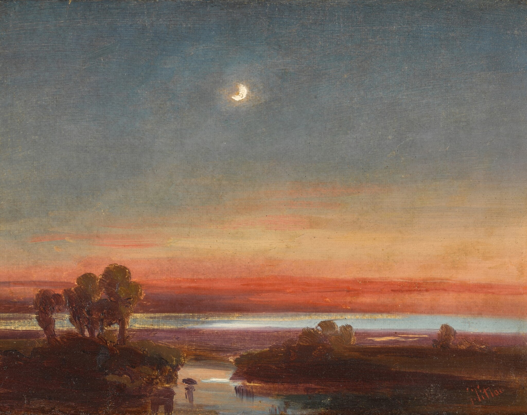 View 1 of Lot 209. Southern Italian landscape by moonlight.