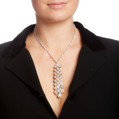 View 4. Thumbnail of Lot 54. GRAFF | CULTURED PEARL AND DIAMOND NECKLACE.
