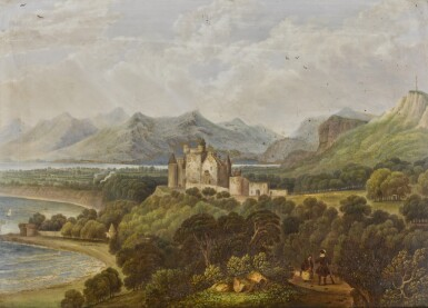 View 1. Thumbnail of Lot 175. An English porcelain rectangular plaque depicting Dunrobin Castle, painted by H.L. Pratt, dated 1842.