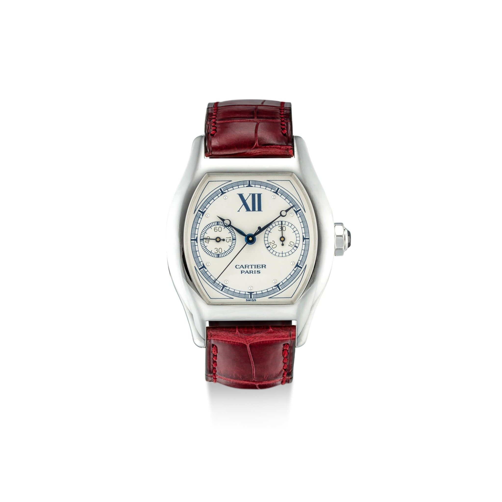View full screen - View 1 of Lot 1109. CARTIER | TORTUE MONOPOUSSOIR, REFERENCE 2396, A WHITE GOLD SINGLE-BUTTON CHRONOGRAPH WRISTWATCH, CIRCA 2000.