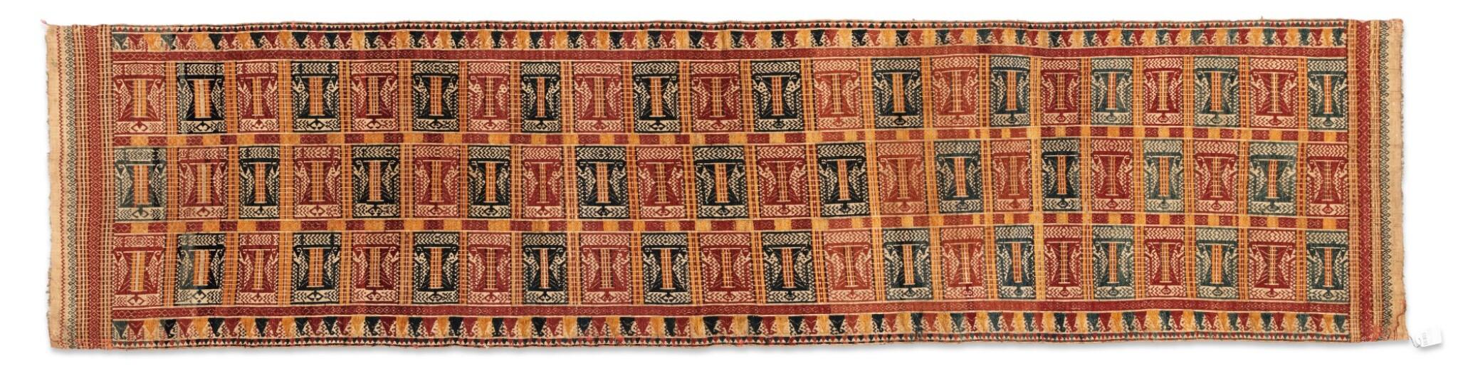 "View full screen - View 1 of Lot 41. Tissu cérémoniel ""à jonques"" palepai, Lampung, Sumatra, Indonesia, ca.1900 | Ceremonial hanging ""ship cloth"" palepai, Lampung, Sumatra, Indonesia, about 1900."