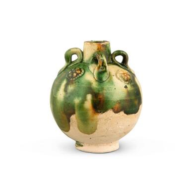 View 3. Thumbnail of Lot 174. A miniature sancai-glazed pottery jar, Tang dynasty   唐 三彩貼花四繫小罐.