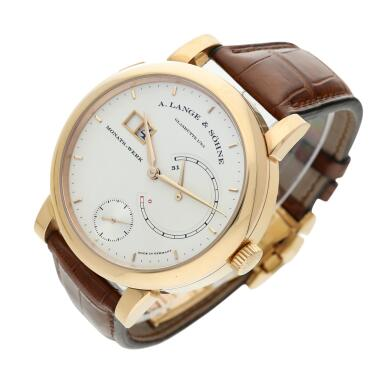 View 4. Thumbnail of Lot 294. Reference 130.032F Lange 31  A pink gold wristwatch with date, power reserve and zero-reset mechanism, Circa 2010 .