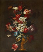ROMAN SCHOOL, 17TH CENTURY | STILL LIFE OF FLOWERS, INCLUDING TULIPS AND APPLE BLOSSOM, IN A VASE DECORATED WITH GILT RELIEF