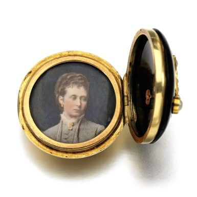 View 2. Thumbnail of Lot 302. Onyx and seed pearl button, 1879.