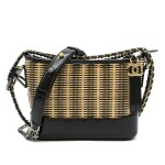 CHANEL | GLOSSY BLACK  GABRIELLE HOBO BAG IN NATURAL RATTAN AND CALFSKIN WITH GOLD HARDWARE, 2020