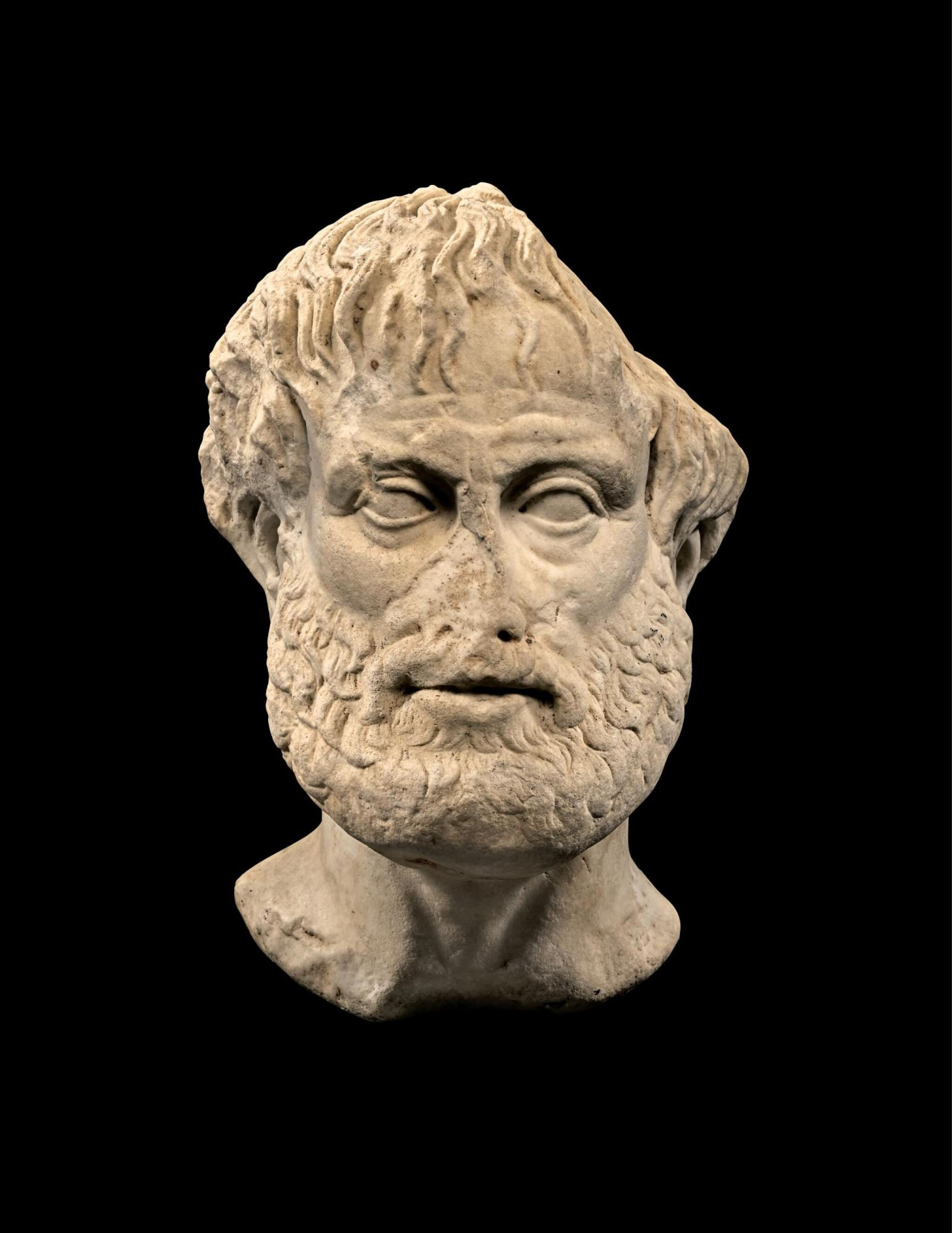 View full screen - View 1 of Lot 247. A ROMAN MARBLE PORTRAIT HEAD OF ARISTOTLE, CIRCA 1ST CENTURY A.D..
