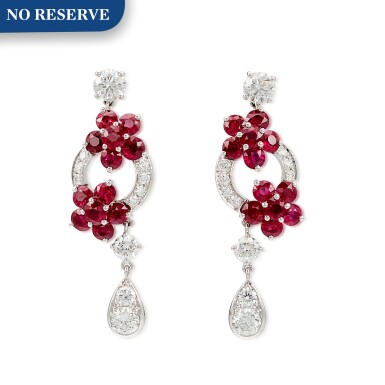 View 1. Thumbnail of Lot 1001. 'Rosette' Pair of Ruby and Diamond Pendent Earrings | 格拉夫 | 'Rosette' 紅寶石 配 鑽石 耳墜一對 (紅寶石及鑽石共重約5.10及2.20克拉).