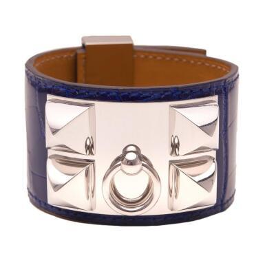 Hermès Bleu Electrique Collier De Chien (CDC) Bracelet of Mississippiensis Alligator with Palladium Hardware Size Small