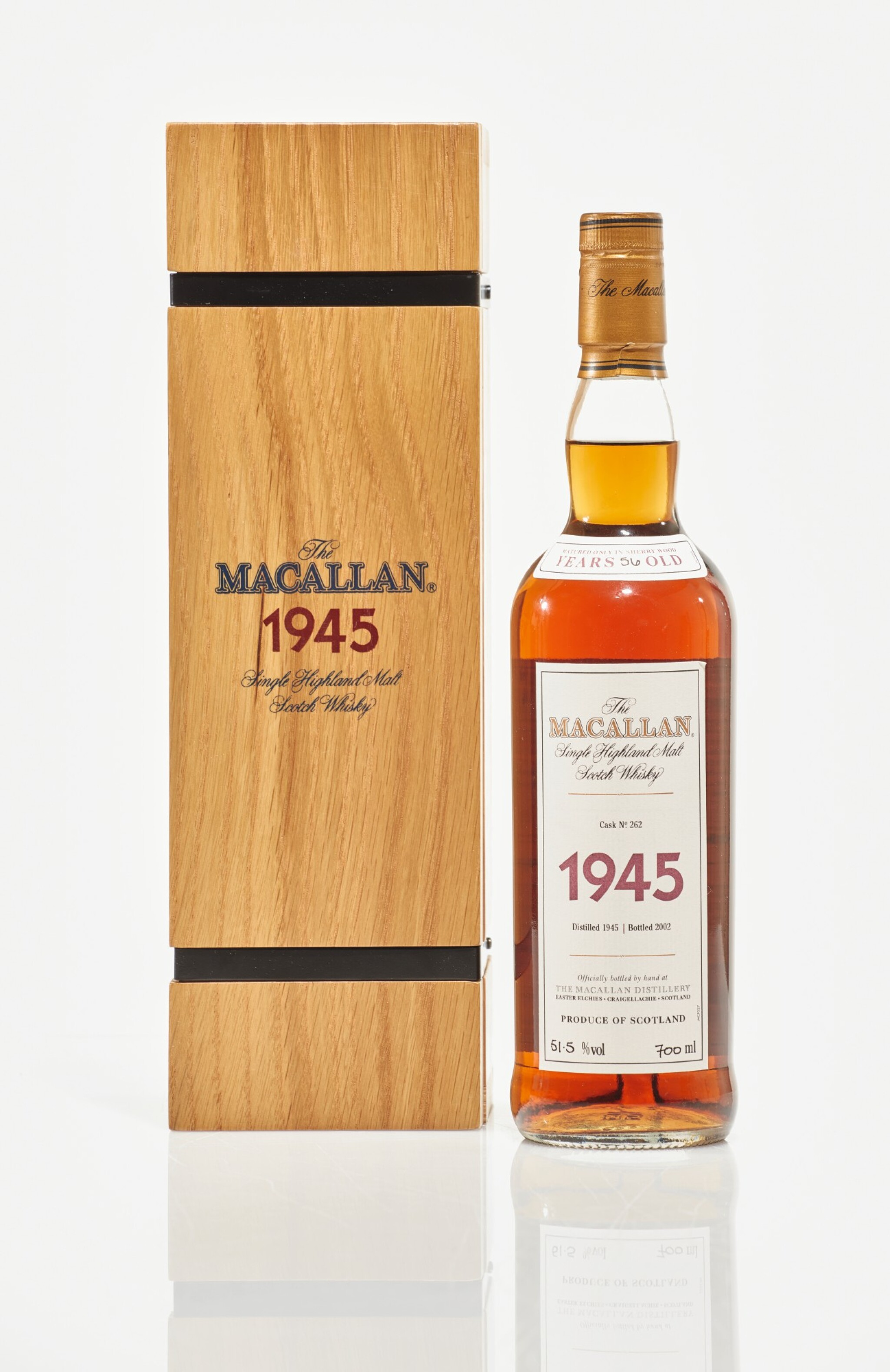 View full screen - View 1 of Lot 11. The Macallan Fine & Rare 56 Year Old 51.6 abv 1945 (1 BT70cl).