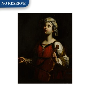 View 1. Thumbnail of Lot 40. St. Cecilia playing the violin.