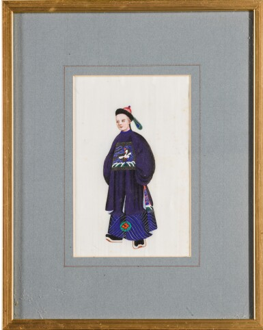 View 4. Thumbnail of Lot 163. A set of fourteen Chinese paintings on silk, Canton, 19th century.