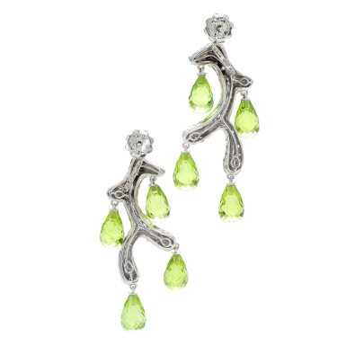 View 4. Thumbnail of Lot 34. MICHELE DELLA VALLE | PAIR OF PERIDOT AND DIAMOND EARRINGS .