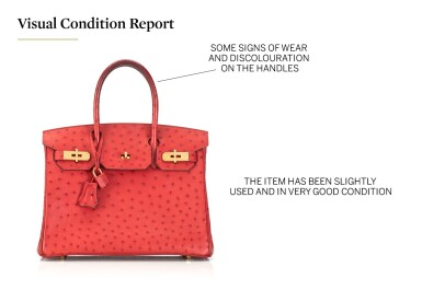 View 5. Thumbnail of Lot 1.  BIRKIN 30 OSTRICH LEATHER IN ROUGE VIF COLOUR WITH GOLD HARDWARE. HERMÈS, 2016.