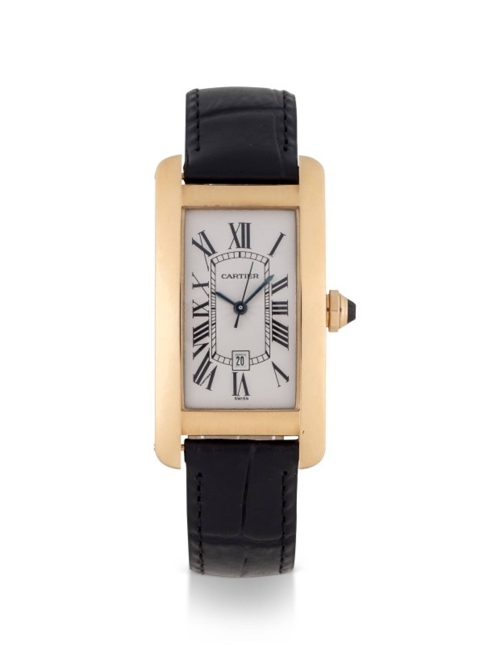 View full screen - View 1 of Lot 101. CARTIER   TANK AMERICAINE, REF 1725 YELLOW GOLD WRISTWATCH WITH DATE CIRCA 1995.