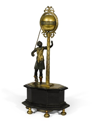View 2. Thumbnail of Lot 2. A Renaissance gilt, patinated and painted bronze and ebony automaton table clock with stackfreed, German, circa 1600.