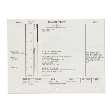 """View 2. Thumbnail of Lot 109. [APOLLO 11]. """"LIFTOFF"""" — THE FLOWN FIRST PAGE OF THE APOLLO 11 FLIGHT PLAN, DIRECTLY FROM BUZZ ALDRIN."""