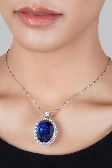 View 2. Thumbnail of Lot 206. Sapphire and Diamond Pendant-Necklace.