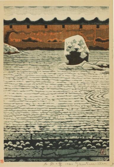 SHIRO KASAMATSU (1898–1991), SHŌWA PERIOD, 20TH CENTURY   SNOW AT THE STONE GARDEN (YUKI NO ISHINIWA)