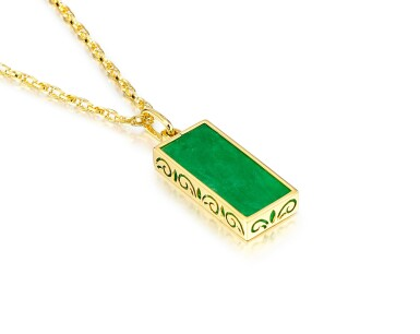 View 2. Thumbnail of Lot 1681. Jadeite Pendent Necklace | 天然翡翠 配 鑽石 項鏈.