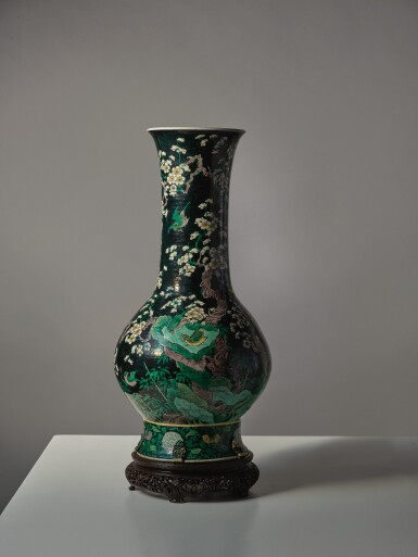 View 6. Thumbnail of Lot 1031. A FAMILLE-NOIRE 'BIRD AND FLOWER' PEAR-SHAPED VASE,  THE PORCELAIN 18TH CENTURY, THE ENAMELS LATER-ADDED.