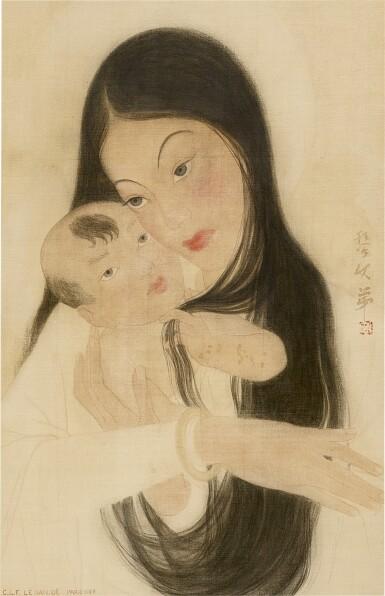 View 1. Thumbnail of Lot 232. LE VAN DE 黎文第   MOTHER AND CHILD 母子.