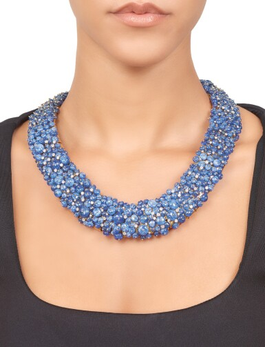 View 1. Thumbnail of Lot 301. Tony Duquette | Sapphire and Diamond Necklace .