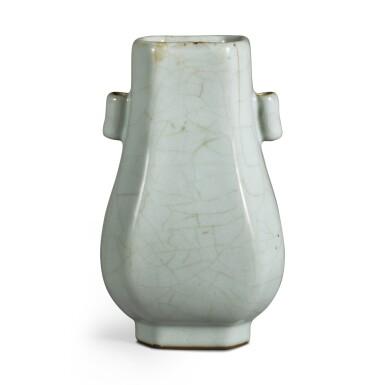 View 2. Thumbnail of Lot 142. A Guan-type faceted vase, Seal mark and period of Qianlong | 清乾隆 仿官釉八方貫耳壺 《大清乾隆年製》款.
