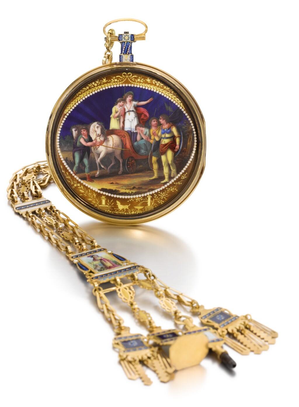 BLONNAY | A GOLD AND ENAMEL VERGE WATCH WITH PRESENTATION PLAQUE TO THE MOVEMENT ENGRAVED 'À LA BARONNE D'ARBERG FIDÈLE LECTRICE DE S M L'IMPÉRATRICE JOSEPHINE, NOTRE MÈRE REGRETTÉE QUI RENDIT SON AME A DIEU LE 29 MAI, JOUR DE PENTECÔTE 1814 LA MALMAISON