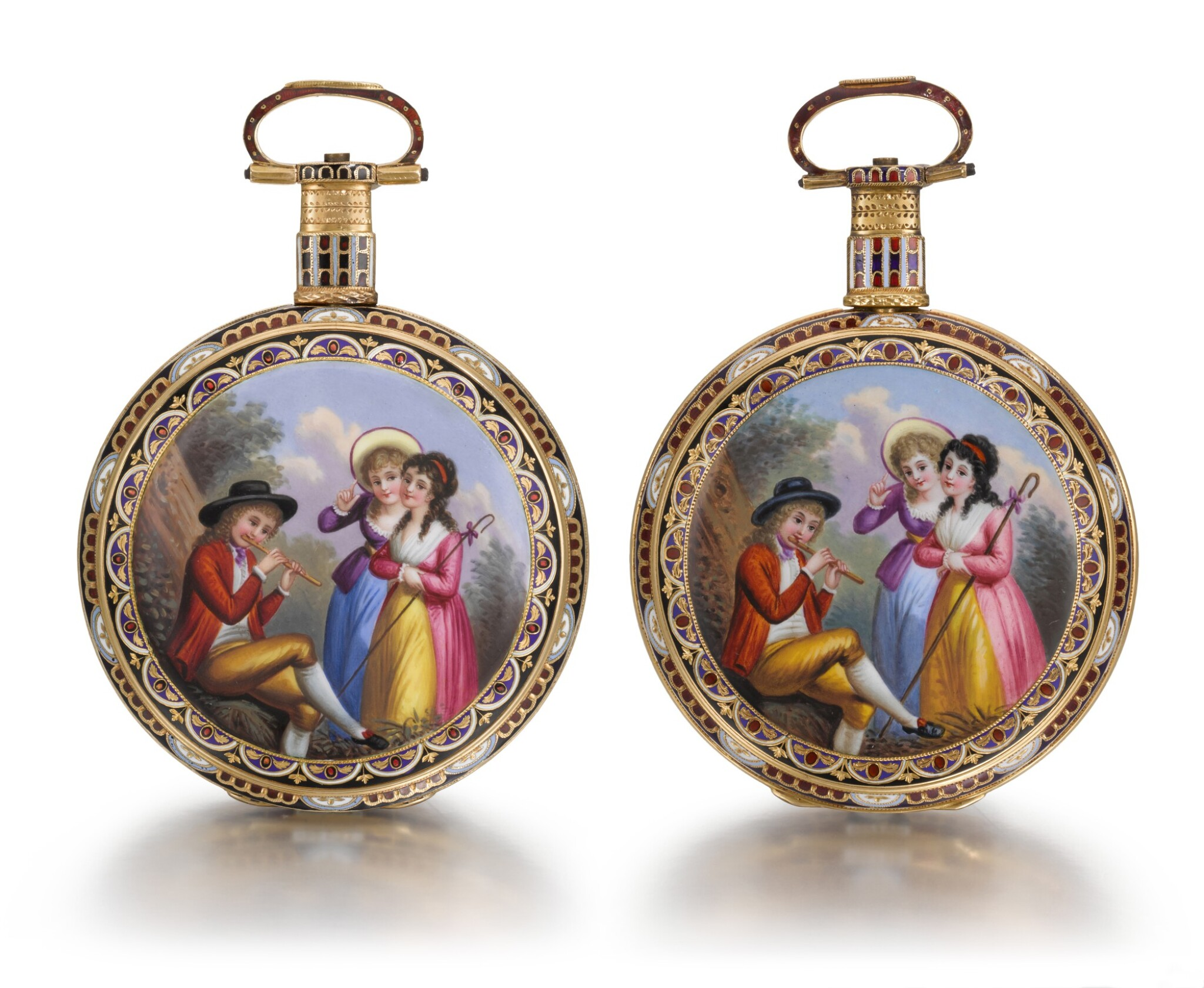 View full screen - View 1 of Lot 293. EDOUARD JUVET, FLEURIER | A MATCHED PAIR OF FINE GOLD AND ENAMEL OPEN-FACED WATCHES MADE FOR THE CHINESE MARKET, CIRCA 1865, NO. 41981 AND 42308.
