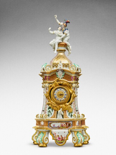 View 2. Thumbnail of Lot 64. A highly important documentary and dated Meissen mantel clock case, Dated 1727, the gilt-bronze mount probably German, mid-18th century, the movement signed Barrey à Paris, Circa 1700 .