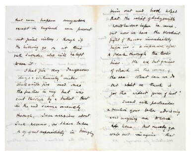 View 2. Thumbnail of Lot 26. CHURCHILL | autograph letter signed, to Pamela Plowden, 1900.