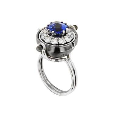 View 3. Thumbnail of Lot 3. Elie Top, Sapphire and Diamond Ring [Bague Saphir et Diamants], 'Sirius'.