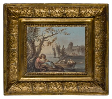 View 2. Thumbnail of Lot 30. STUDIO OF CLAUDE-JOSEPH VERNET   A COUPLE EMBRACING BENEATH A TREE, NEAR A CALM WATERWAY WITH FIGURES IN A BOAT, AND A ROCKY SHORE BEYOND.