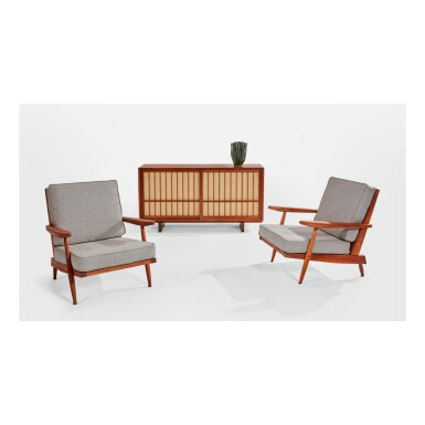 "GEORGE NAKASHIMA | PAIR OF ""CONOID CUSHION"" ARMCHAIRS"