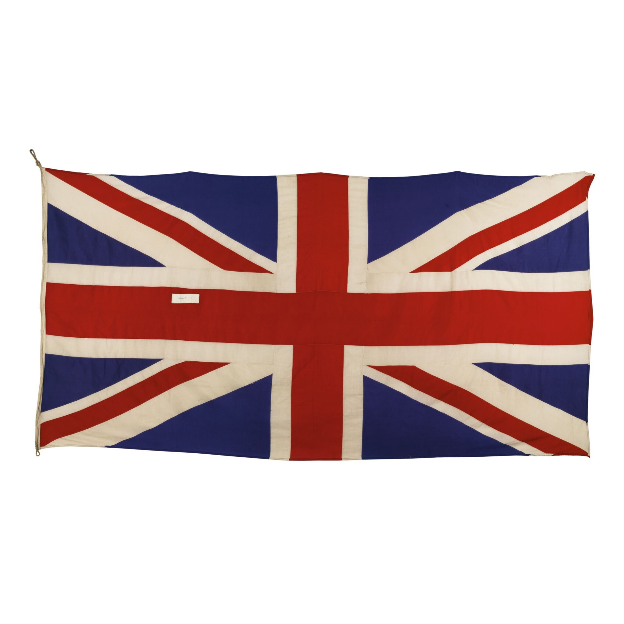 View full screen - View 1 of Lot 557. Flag: British Union Jack Flag, signed by Sir Winston Churchill.