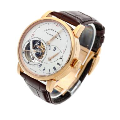 View 3. Thumbnail of Lot 295. Reference 760.032F Richard Lange Tourbillon pour le Mérite  A pink gold tourbillon wristwatch with chain and fusée and regulator dial, Circa 2014.