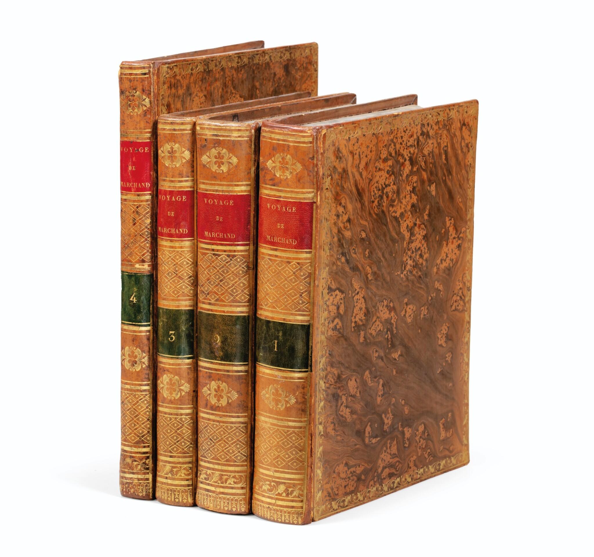 View full screen - View 1 of Lot 205. FLEURIEU -- [MARCHAND].Voyage autour du monde. An VI - An VIII. 3 vol in-4 et un Atlas in-4. Veau flammé de l'époque.
